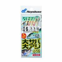 ハヤブサ 大サバ・大アジ オーロラサバ皮&ブライトン 5本鈎1セット HS351 6号 (ハリス  3号)【10点セット】