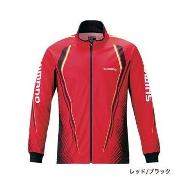 画像1: ≪'20年3月新商品!≫ シマノ フルジッププリントシャツ(長袖) SH-051S レッド/ブラック Lサイズ [3月発売予定/ご予約受付中]