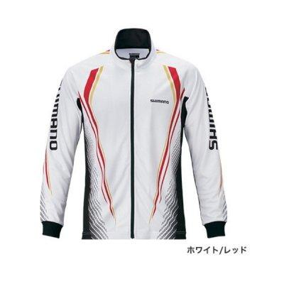 画像1: ≪'20年3月新商品!≫ シマノ フルジッププリントシャツ(長袖) SH-051S ホワイト/レッド XLサイズ [3月発売予定/ご予約受付中]