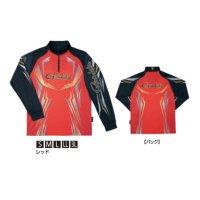 ≪'20年2月新商品!≫ がまかつ 2WAYプリントジップシャツ(長袖) GM-3616 レッド Sサイズ